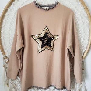 Easel Los Angeles Sequin Star Sweater